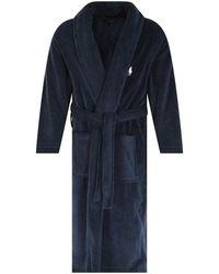 Polo Ralph Lauren Navy Robe Dressing Gown - Blue