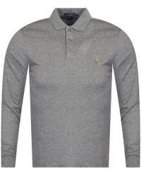 Polo Ralph Lauren - Grey Heather Long Sleeve Polo Shirt - Lyst