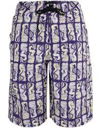 KENZO Mermaid Print Swim Shorts - Purple