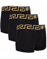 Versace Black Tri Pack Greca Border Trunks