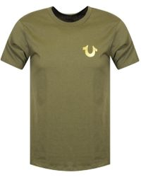 True Religion - Green/gold Buddha Logo T-shirt - Lyst