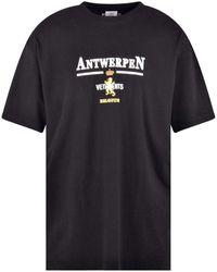 Vetements Black Oversized Antwerp Logo T-shirt