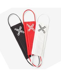 KENZO Red/white/black Logo 3 Pack Face Masks