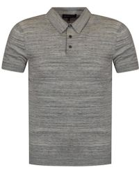 Michael Kors - Heather Grey Knitted Polo Shirt - Lyst