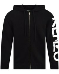 KENZO Black Logo Hooded Cardigan