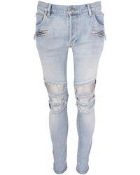Balmain Light Blue Silver Distressed Biker Denim Jeans