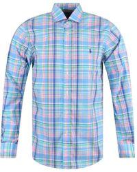 Polo Ralph Lauren Pink/blue Check Logo Long Sleeve Shirt