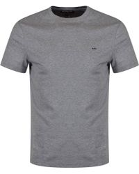 Michael Kors - Heather Grey Crew Neck Logo T-shirt - Lyst