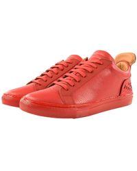 separation shoes 56b93 da313 Ylati Red Leather Amalfi Low Metal Bubble Sneakers