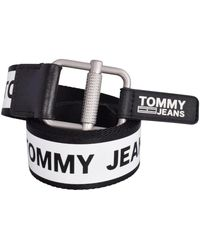 Tommy Hilfiger Black & Red Reversible Tape Belt - Multicolour