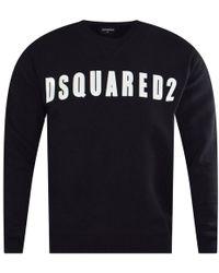 DSquared² - Black Logo Print Sweatshirt - Lyst