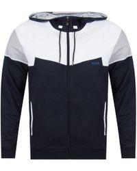 BOSS Athleisure - Navy/white Zip Up Hoodie - Lyst