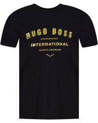 BOSS Athleisure - Black/gold Text Print T-shirt - Lyst
