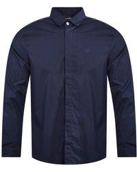 Emporio Armani Navy Eagle Long Sleeve Shirt - Blue