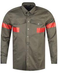 Neil Barrett - Khaki/red Stripe Shirt - Lyst
