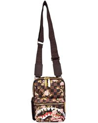 Sprayground Brown Check Flower Small Pouch Bag