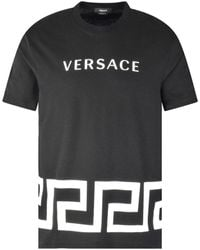 Versace Black Slim Fit Baroque Logo T-shirt