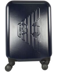 Emporio Armani Navy Embossed Logo Suitcase - Blue