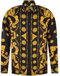 Versace Barocco Western Print Silk Twill Shirt - Blue