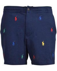 Polo Ralph Lauren Navy All Over Polo Player Logo Shorts - Blue