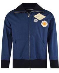 Lanvin Navy Blue Patch Logo Bomber Jacket