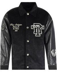 True Religion Onyx Black Collared Varsity Jacket