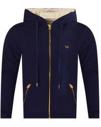 True Religion - Navy Fleece Hooded Jacket - Lyst