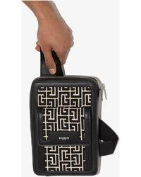 Balmain Monogram Jacquard Cross Body Bag - Black
