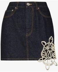 Area Crystal Turtle Mini Denim Skirt - Blue