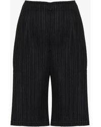 Pleats Please Issey Miyake Pleated Knee-length Shorts - Black