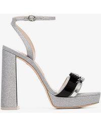 Sophia Webster - Silver Andie 125 Glitter Bow Leather Sandals - Lyst