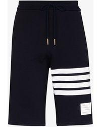 Thom Browne Sweatshorts With Engineered 4-bar Stripe Are - Blue