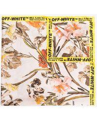Off-White c/o Virgil Abloh - Multicoloured Floral Logo Border Scarf - Lyst