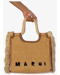 Marni North-south Raffia Tote Bag - Brown