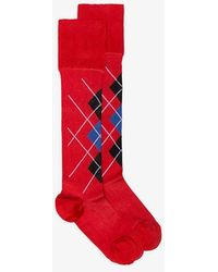 Versace Red And Blue Argyle Socks