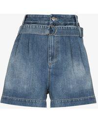 Tibi Belted Denim Shorts - Blue