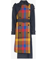 Angel Chen Check Panel Trench Coat - Blue