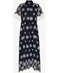 Evi Grintela Look 16 Printed Cotton Maxi Dress - Blue