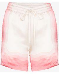 CASABLANCA Kapalia Printed Silk Drawstring Shorts - Pink