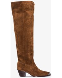 Polo Ralph Lauren X S Suede Knee-high Western Boots - Brown