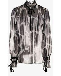 Valentino Giraffe Print Chiffon Blouse - Black