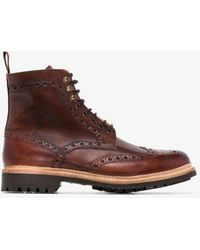 Grenson Fred Hand-painted Leather Boots - Brown