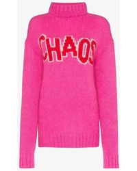 House of Holland Oversized Chaos Turtleneck Knitted Dress - Pink