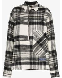 we11done Check Print Wool Shirt - Gray