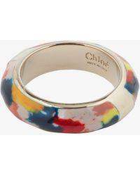 Chloé Gold Tone Jamie Printed Ring - Metallic
