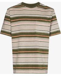 Beams Plus Striped Short Sleeve T-shirt - Grey