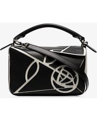 ffe7a094a96a Lyst - Loewe Black And White Small Leather Roses Puzzle Bag in Black
