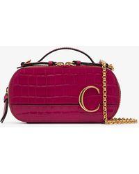 Chloé Red C Ring Mock Croc Leather Cross Body Bag - Pink