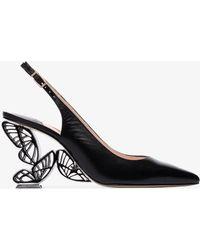 Sophia Webster Paloma 85 Leather Slingback Court Shoes - Black
