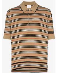 Burberry Stripe Knit Polo Shirt - Yellow